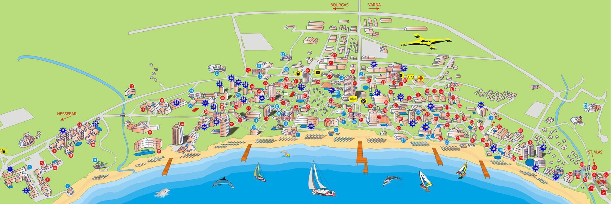 map of bulgaria sunny beach Sunny Beach Map Hotels In Bulgaria map of bulgaria sunny beach